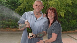 Tony and Donna celebrate their winnings