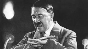 Adolf Hitler pictured giving a speech.