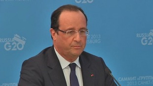 French President Francois Hollande speaking at a press conference.