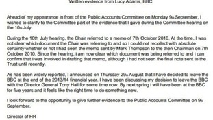 Lucy Adams said she was not clear which document MPs were referring to at a hearing in July.