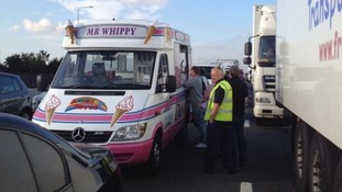 A Mr Whippy van was one of those stuck when the Dartfod Crossing was closed today