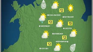 Sunday morning will be mainly dry and quite bright