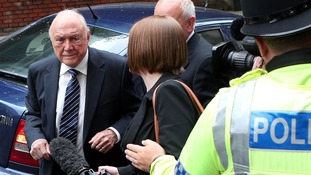 Stuart Hall arriving at Preston Crown Court in June