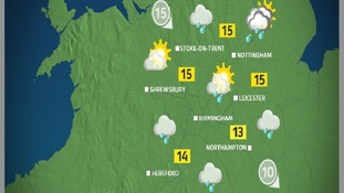 Monday afternoon will be generally cloudy and rainy on-and-off
