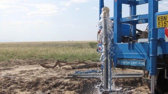 A pipe produces water on the Lotikipi plain. Credit: ITV News
