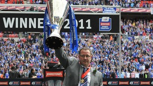 Former Carlisle manager Greg Abbott with the Johnstones' Paint Trophy in 2011.