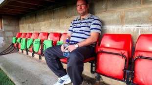 Greg Abbott in the dug out at the FA Cup first round against Alfreton Town in 2011.