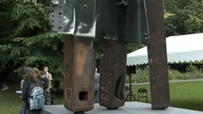 The sculpture is a girder from Ground Zero