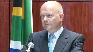Foreign Secretary William Hague speaking in South Africa.
