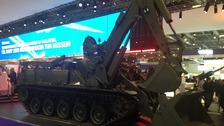 Military equipment on show at the arms fair in Docklands