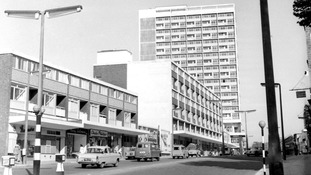 Shopping Centre in Notting Hill Gate seen shortly after being built in 1960