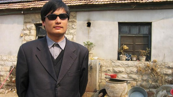 Blind legal activist Chen Guangcheng is seen in this undated handout picture