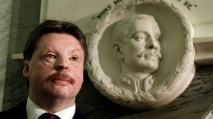 AT MEMORIAL SERVICE.Falklands war veteran Simon Weston stands in front of a memorial at St Pauls Cathedral