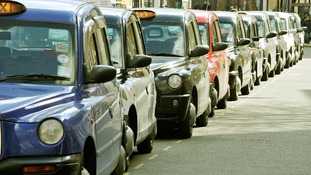 London taxi rank in Vauxhall Bridge Road