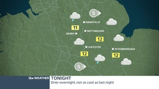 Mostly dry with a few spots of light rain tonight, not as cool as last night