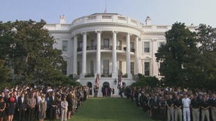 President Barack Obama led the country in a moment of silence at the White House.