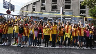 The human chain stretched for 250 miles across Spain's Catalan region
