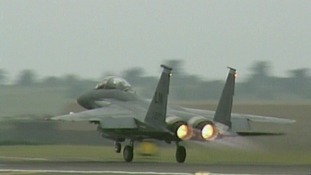 An F15 takes off from Lakenheath