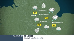 A wet Thursday night ahead in the East Midlands