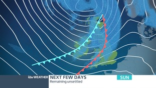 Low Pressure will be in the north of the UK on Sunday giving us wet and windy weather