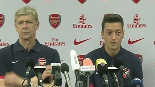 Arsenal manager Arsene Wenger and Mesut Ozil at today's press conference