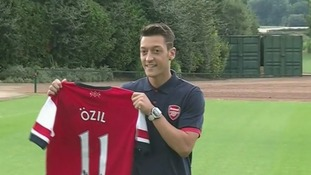 Mesut Ozil being officially unveiled at Arsenal today