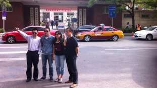 Chen Guangcheng supporters outside the hospital where he is still being treated