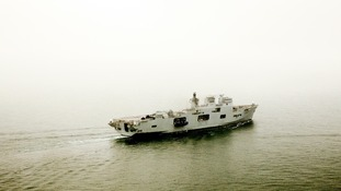 HMS Ocean heads towards the River Thames for Greenwich, east London