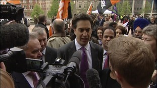 Ed Miliband speaks to the media outside Birmingham Council House
