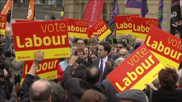Ed Miliband arrives in Victoria Square in Birmingham