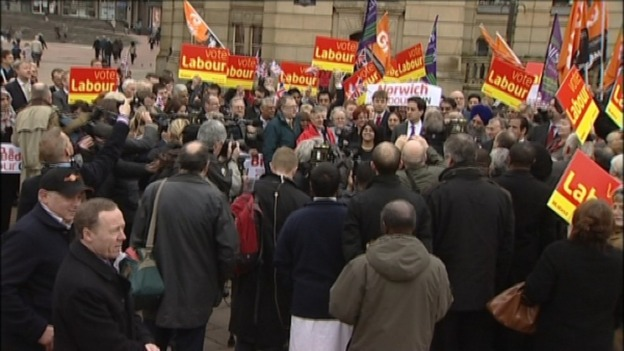 Labour leader Ed Miliband meets supporters in Birmingham