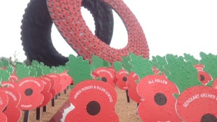 Everlasting poppies have been 'planted' around a central wreath