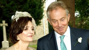 Former prime minister Tony Blair and his wife Cherie attend their son's wedding.