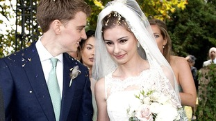 Euan Blair and Suzanne Ashman after their wedding at All Saints parish church in Wotton Underwood, Buckinghamshire.