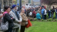 Crowds outside Huddersfield Parish Church