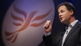 Deputy Prime Minister Nick Clegg addressing a rally of activists at the Lib Dem conference.