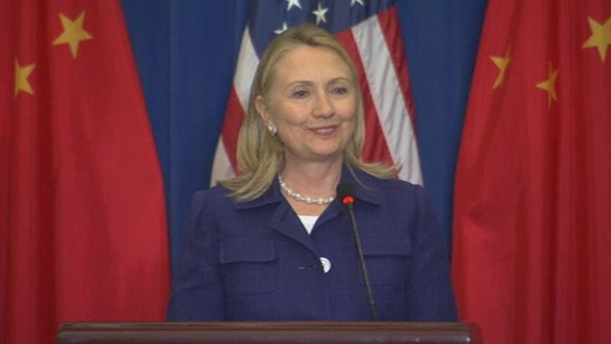 Hillary Clinton speaking in China.