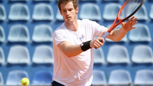 Andy Murray in the Davis Cup in Umag, Croatia.