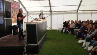 Paul Hollywood carries out a cooking demonstration at the Stratford Food Festival