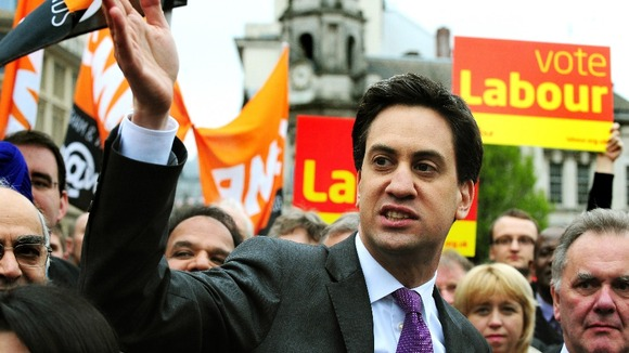 Labour leader Ed Miliband in Victoria Square, Birmingham