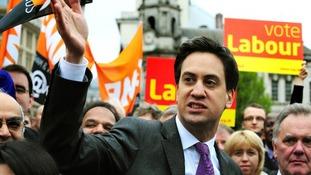 Labour leader Ed Miliband in Victoria Square, Birmingham