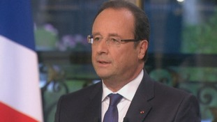 French President Francois Hollande spoke on the national TF1 television.