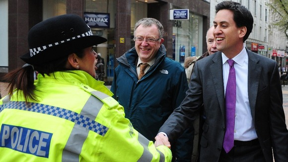 Labour leader Ed Miliband meets PC McSharry in Victoria Square, Birmingham