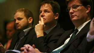 Liberal Democrat leader Nick Clegg listens to a debate at the Liberal Democrat conference in Glasgow.