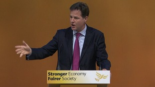 Nick Clegg speaking at the Liberal Democrat conference.