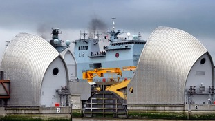 HMS Ocean passes through Thames Barrier