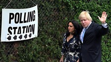 Boris Johnson outside a polling station yesterday.