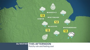 Rain will spread through the East Midlands from mid morning onwards