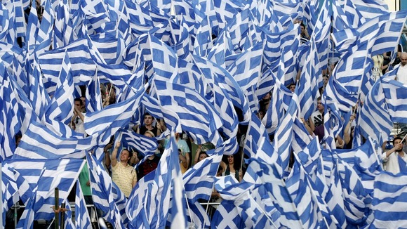 Conservative supporters during a pre-election rally in the town of Thessaloniki, Greece.