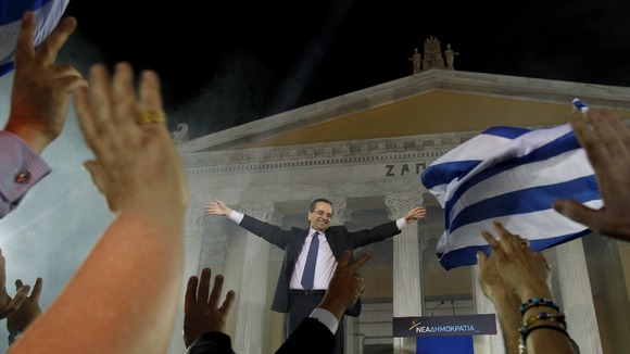 Leader of the New Democracy conservatives party Samaras is cheered by supporters during a pre-election rally in Athens.